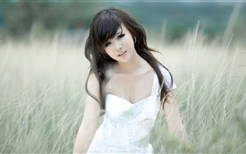 Preview wallpaper Asian, black hair girl, grass