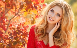 Autumn, blonde girl, smile, red dress, leaves