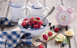 Preview wallpaper Berries, raspberry, blueberry, alarm clock, bowl