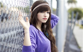 Preview wallpaper Blue clothes girl, portrait, black hair