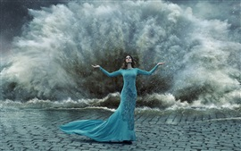 Preview wallpaper Blue peacock dress girl, gesture, storm, water splash