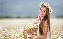 Brown cabelo menina, flores, margaridas, cesta