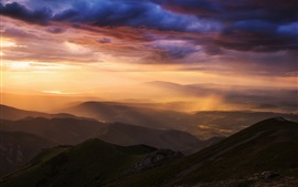 Preview wallpaper Carpathians, Tatra mountains, valley, rain, sky, clouds