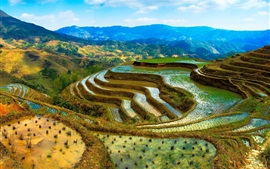 Preview wallpaper China, terraces, water, mountains, beautiful scenery