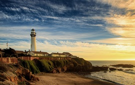 Preview wallpaper Coast, lighthouse, beach, sea, morning