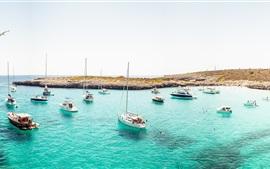Preview wallpaper Coast, yacht, boats, ocean, beach