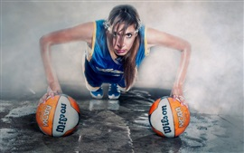 Preview wallpaper Creative pictures, girl, balls, sport