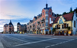 Preview wallpaper Dresden, Germany, city, morning, road, restaurant, coffee shop