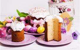 Pascua, pastel, huevos, primavera, decoración