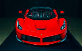Preview wallpaper Ferrari LaFerrari red supercar front view, black background