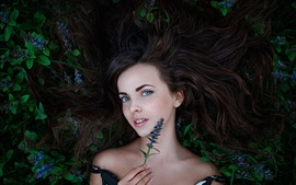 Preview wallpaper Forest fairy, girl, freckles, flowers