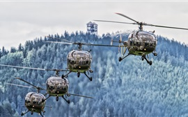 Preview wallpaper Four helicopters, aircraft, flight