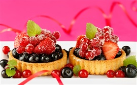 Preview wallpaper Fruit cakes, dessert, berries, strawberries, blackberries