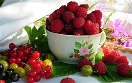 Preview wallpaper Fruits, raspberries, red currants, gooseberries, bowl