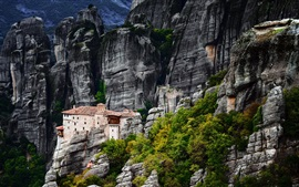 Greece, Meteora, mountains, house, rocks, trees
