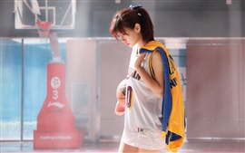 Preview wallpaper Japanese girl, basketball, training