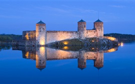 Preview wallpaper Lake, castle, light, night, reflection, blue