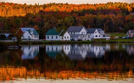 Preview wallpaper Lake, forest, autumn, houses, water reflection