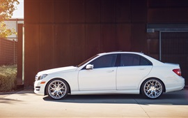 Preview wallpaper Mercedes-Benz C250 white car side view