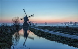 Preview wallpaper Morning, road, windmill, canal, river, trees, fog