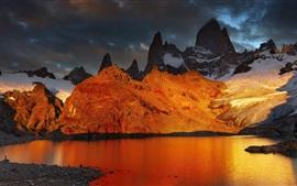 Patagonia, Argentina, lago, montanha, amanhecer, neve