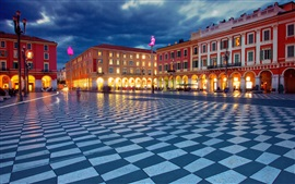 Preview wallpaper Place Massena, Nice, France, night, buildings, lights
