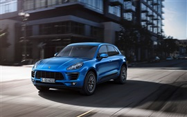Preview wallpaper Porsche Macan SUV car, blue, road