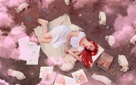 Preview wallpaper Red hair girl, books, rabbits, smoke