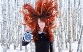 Preview wallpaper Red hair girl, wind, clock, snow, forest