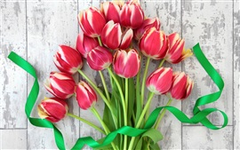 Red tulips, bouquet flowers, ribbon