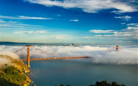 Preview wallpaper San Francisco, Golden Gate bridge, USA, bay, clouds, fog