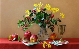 Preview wallpaper Still life, flowers, vase, cup, apple