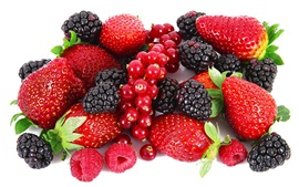 Preview wallpaper Strawberries, blackberries, raspberries, red berries, fruits