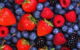 Preview wallpaper Strawberries, raspberries, blueberries, blackberries, fruits