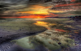 Preview wallpaper Sunset, sea, beach, nature, sky, clouds