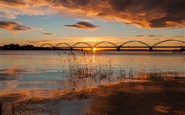 Sweden, Apulia, bridge, river, morning, sunrise, autumn