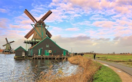 The Netherlands, windmill, river, sky, clouds