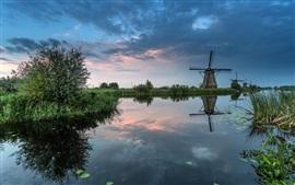 Les Pays-Bas, moulin à vent, rivière, les arbres, l'herbe, au crépuscule
