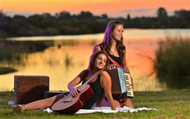 Preview wallpaper Two girls, guitar, accordion, music