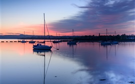Preview wallpaper UK, England, Hampshire County, bay, boats, evening, sunset