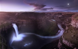 Preview wallpaper USA, Washington, valley, canyon, waterfall, night, moon