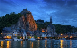 Wallonia, Belgium, river, houses, lights, yacht, night