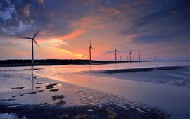 Windmills, propeller, twilight, water