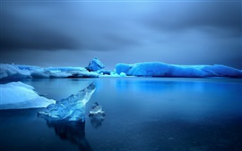 Зима, снег, лед, вода, море, небо, сумерки
