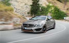Preview wallpaper 2015 Mercedes-Benz CLA silver car, high speed
