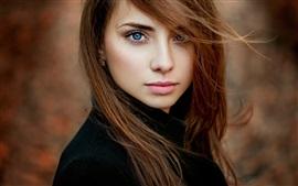 Vorschau des Hintergrundbilder Autumn portrait, braune Haare Mädchen