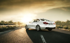 Preview wallpaper BMW M550D F10 white car rear view, road