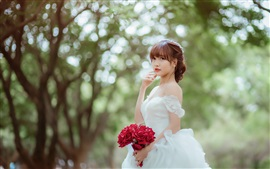 Preview wallpaper Beautiful asian girl, bride, rose