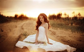 Preview wallpaper Beautiful bride, girl, white dress, sand, road