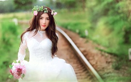 Preview wallpaper Beautiful bride, white dress girl